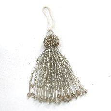 Silver glass bead tassel