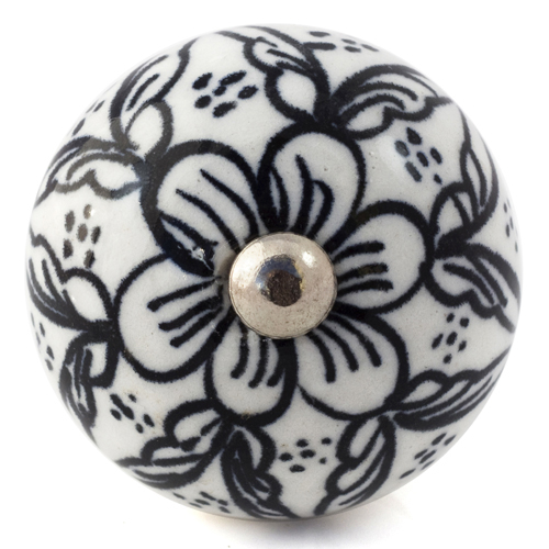 white/black flower pattern knob