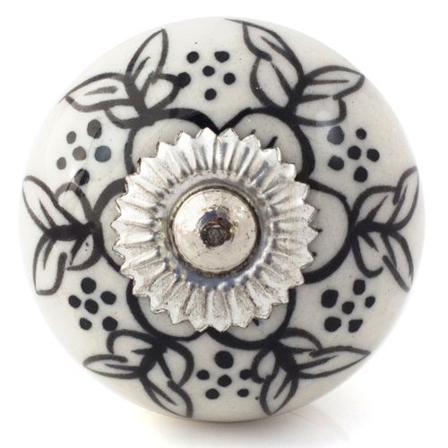 white/black flower wings knob