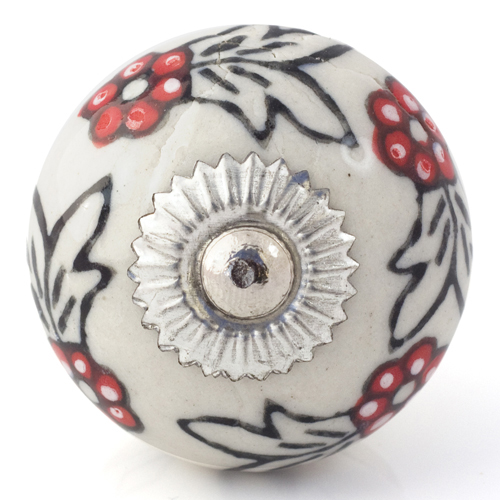 white/black knob with red flowers