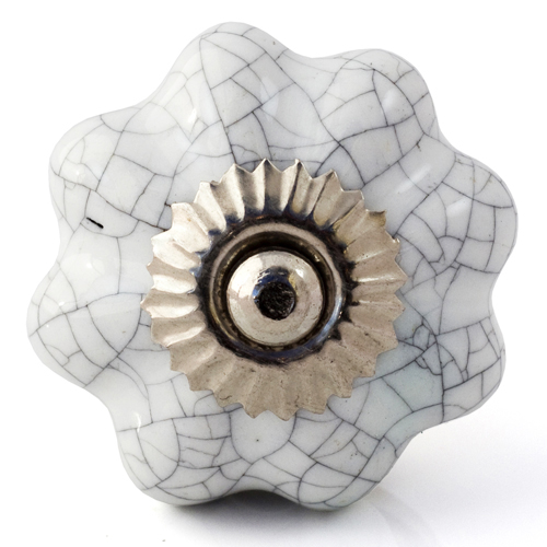 white crackle glaze melon knob