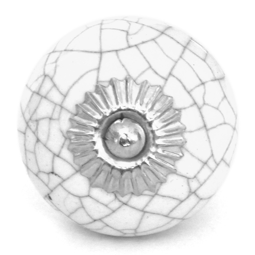 White Crackle Glaze Round Knob