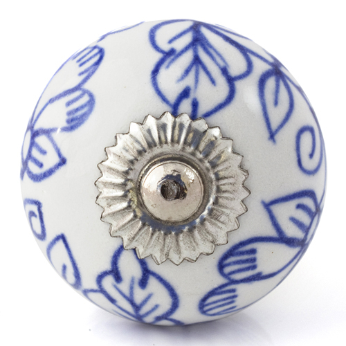 white/delicate blue flower knob