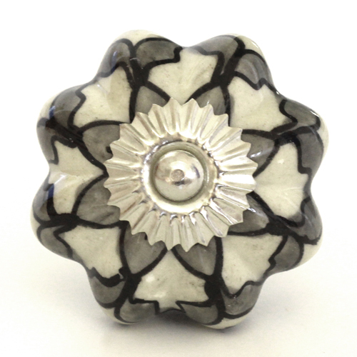white/intricate grey flower melon knob