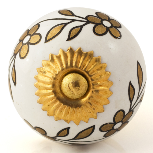 white knob with gold flowers