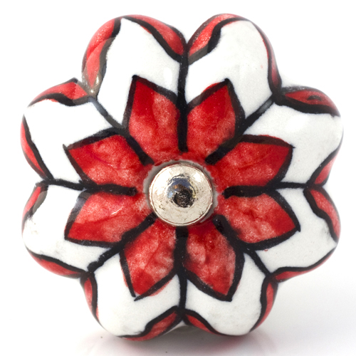 white/red flower melon knob