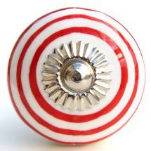 white/red stripes knob